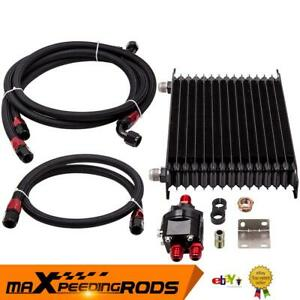15 Row AN10 Engine Oil Cooler + 3/4-16 & M20 x 1.5 Filter Relocation Adapter Kit