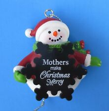 z Mother's make Christmas Merry SNOWMAN ORNAMENT message snowflake Ganz