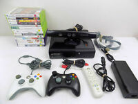 Xbox 360 Elite Console + 2x Controllers + 15x Games + Kinect Camera + Headset