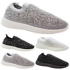Ladies Diamante Walking Sock Sneaker Women Running Trainers Gym Sport Shoes Size