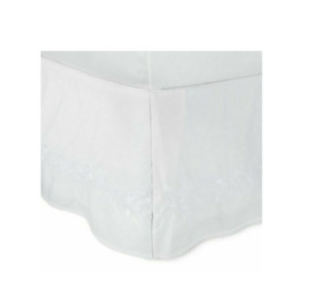 """Simply Shabby Chic Linen Blend Embroidered Bed skirt, Full 15"""" Drop, White"""