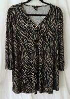 Shimmery Black & Gold 3X 2X ROBERT LOUIS Zebra & Snake Print Stretch Knit Blouse