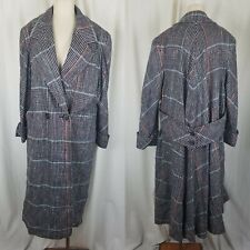 Vintage Aquascutum Plaid Half Belted Silk Swing Winter Coat Peacoat Womens 10