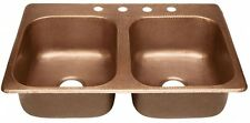 Copper Kitchen Sink Drop-In 33 4-Hole Double Bowl Handmade Pure Antique Copper