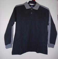 Boys Size L (7-9 Yrs) Black Cotton Long Sleeve Polo Top