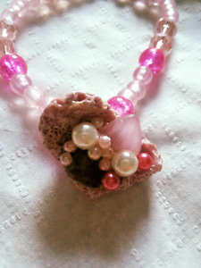 Pink Champagne & Real Shell Stretch Bracelet, Pink and white beads and pearls.