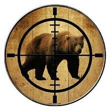 "Indoor/Outdoor Bear Hunter Metal Round Circular Sign 12"""