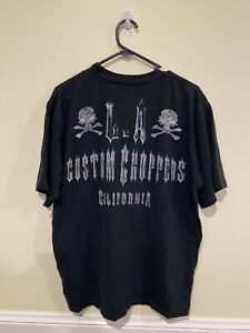 Mens Vintage LA Custom Choppers Tshirt Motorcycle Graphic Print Skulls Size M
