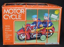 "TIN MOTORCYCLE 2 RIDERS & SIREN FRICTION TOY 6"" LONG REMOVABLE HEAD + BOX CHINA"