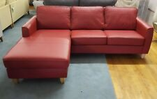 Left-Hand Compact Corner Chaise Sofa, Faux Leather, Red