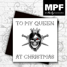 'Skull Queen' hand made tattoo style Christmas card with gem stone eye