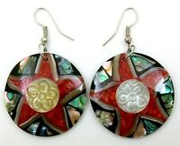 Natural Paua Abalone Shell Mother of Pearl  Red Coral Dangle Drop Earrings EA159