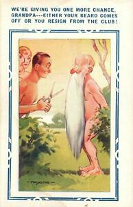 VINTAGE RUDE COMIC BAMFORTH Grandpa in Nudist Colony to Cut Long Beard POSTCARD