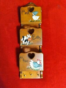 "VINTAGE 23"" WALL MOUNT WOODEN LETTER MAIL KEY HOLDER MAIL ORGANIZER COW HEN DUCK"