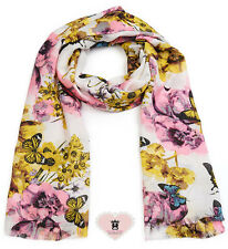 ASA91368 White Floral and Butterfly Print Long scarf