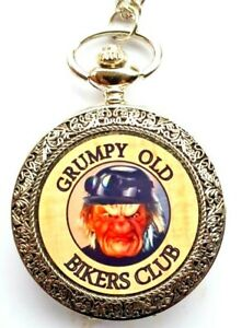 GRUMPY OLD BIKERS CLUB  CHROME POCKET WATCH WITH CHAIN (NEW)  In velvet pouch