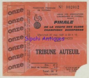 LIVERPOOL - REAL MADRID 1981 CHAMPIONS LEAGUE FINAL MATCH SOCCER FOOTBALL TICKET