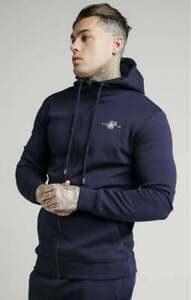 Sik Silk Zip Through Muscle Fit Hoodie - Navy