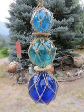"3""4""5"" Blues Trio Curio Glass Floats Balls Buoys Bouys Net Floats"