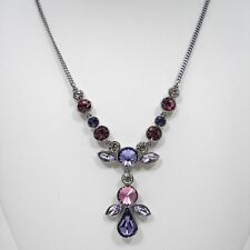 Givenchy Purple & Pink Crystal Y Necklace Silver Tone Metal Statement Jewelry