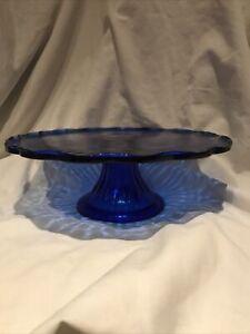 Blue Glass Fleur-de-lis Round Glass Cake Stand or Pedestal Fruit Plate 9 3/4 Inc