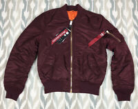 Alpha Industries MA-1 Slim Fit European Fit Men's Jacket Maroon Size M Medium