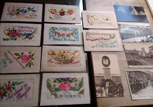 Collection of 15 x mainly WW1 silk postcards, & others, military, army