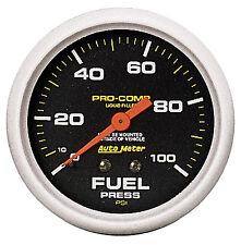 "Auto Meter Pro-Comp Liquid Filled Mechanical 100 Psi Fuel Pressure Gauge 2 5/8"""