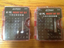 2 (TWO) SETS TOOL SHOP 61 PC INSERT BIT SET WITH CARY CASE NEW