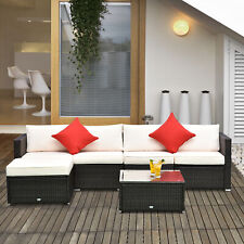 Outsunny 6pc Patio Furniture Rattan Wicker Sofa Outdoor Garden Sectional Couch