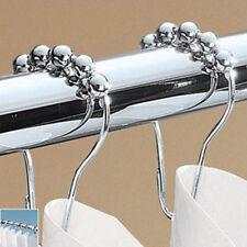 12Pcs/set Roller Stainless Steel Curtain Rings Hooks Rings Hooks 5 Roller Ball
