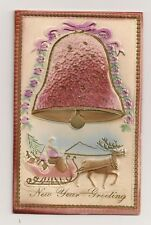 New Year colour embossed postcard showing  a bell, santa, siegh and reindeer