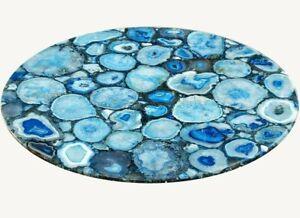 "36"" Blue Natural Agate Coffee Center Table Top Pietradura Handmade Work"