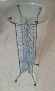 Stylish CD Stand Tower Rack Display Table - Metal Glass Top - holds 80 CDs Guru