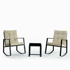 3pcs Wicker Rattan Patio Furniture Conversation Sofa Set Garden Rocking Chairs