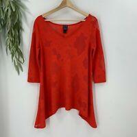 Clara Sun Woo Womens Tunic Top Size S Orange Red Asymmetrical Cut Out Shirt I9