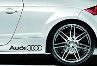 2 X AUDI CAR VINYL STICKERS STICKER RINGS SIDE SKIRT GRAPHICS DECALS LOGO