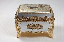 Vintage 80s Japanese Chokin Foil Art Ornate Footed Jewelry Trinket Music Box