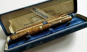 Waterman 94 Olive ripple 18k BROAD nib 9k band calligraphic pen