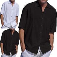 Plain Men T-shirt Summer Casual Formal Linen Blouse Top Tees Shirts M- 3XL