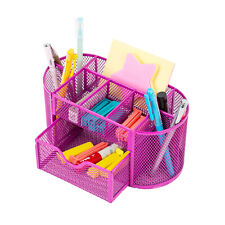 Desk Office Table Organizer Supplies Metal Mesh Pen Pencil Holder Storage Pink