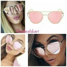 Pink gold Lens Gold Frame Cat Eye Mirror reflective Large Women Sunglasses