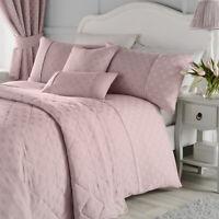 Serene NOUVEAU FAN Blush Pink Jacquard Duvet Bedding Sets & Eyelet Curtains