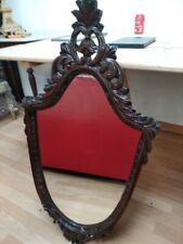 Antique Wood Mirror in Carved Oak 1955 hand carved