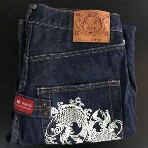 Designer Dark Denim EVISU Paris Japanese Jeans White Zen Koi Fish Print