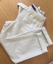 Ralph Lauren Cuffed Cream Pinstripe Pants - Size 4US   8AU