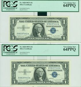 1957A $1 SILVER CERTIFICATE PCGS 64PPQ VC NEW 2 CONSECUTIVE NOTES 1 PER ORDER