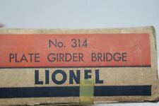 "LIONEL O Gauge, #314, "" Die-Cast Metal Girder Bridge"" USED, C-6, W/BOX,  (S-3)"