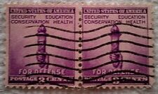 1940 Scott 901 U. S. Defense Torch two used 3 cent stamps off paper