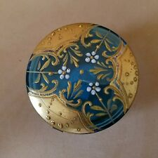 Antique Blue Hand Painted Raised Enamel Patch Box Moser. late 1800's